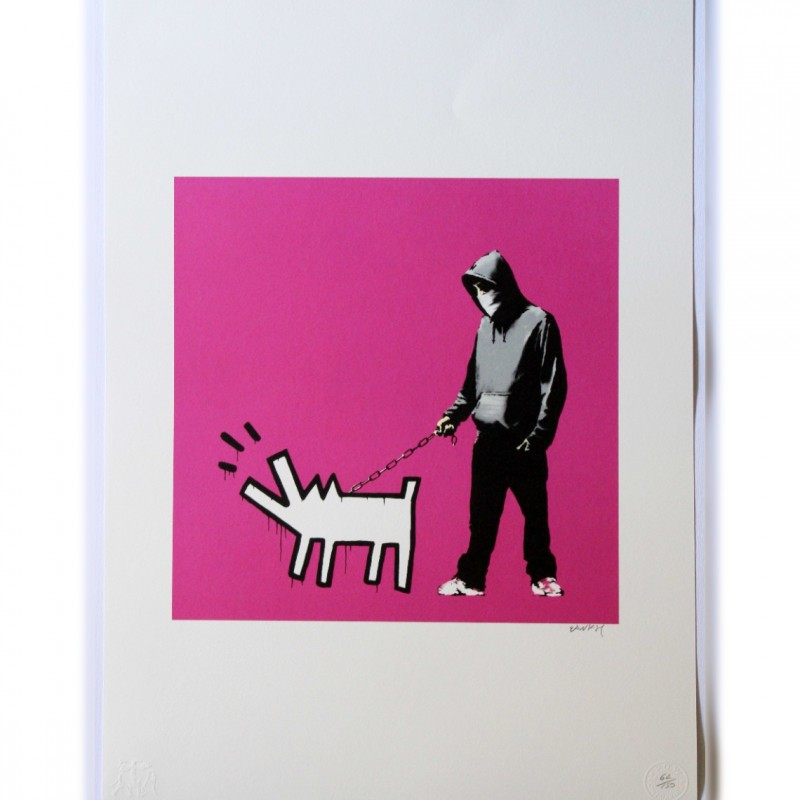 """Omaggio al Barking Dog (Haring)"" - Litografia Offset Grafiart Uk di Banksy"