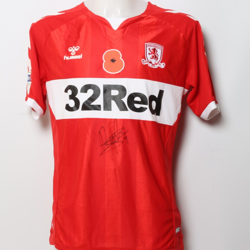 Daniel Ayala's Middlesbrough Worn and Signed Home Poppy Shirt