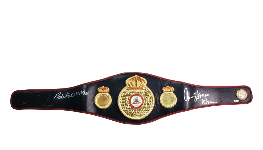 Championship Belt Hand Signed by Roberto Duran & Thomas  Hearns