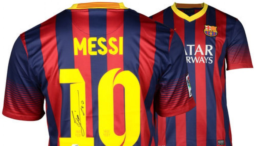 new style cb9c7 278c0 Lionel Messi Barcelona FC Autographed Jersey - CharityStars