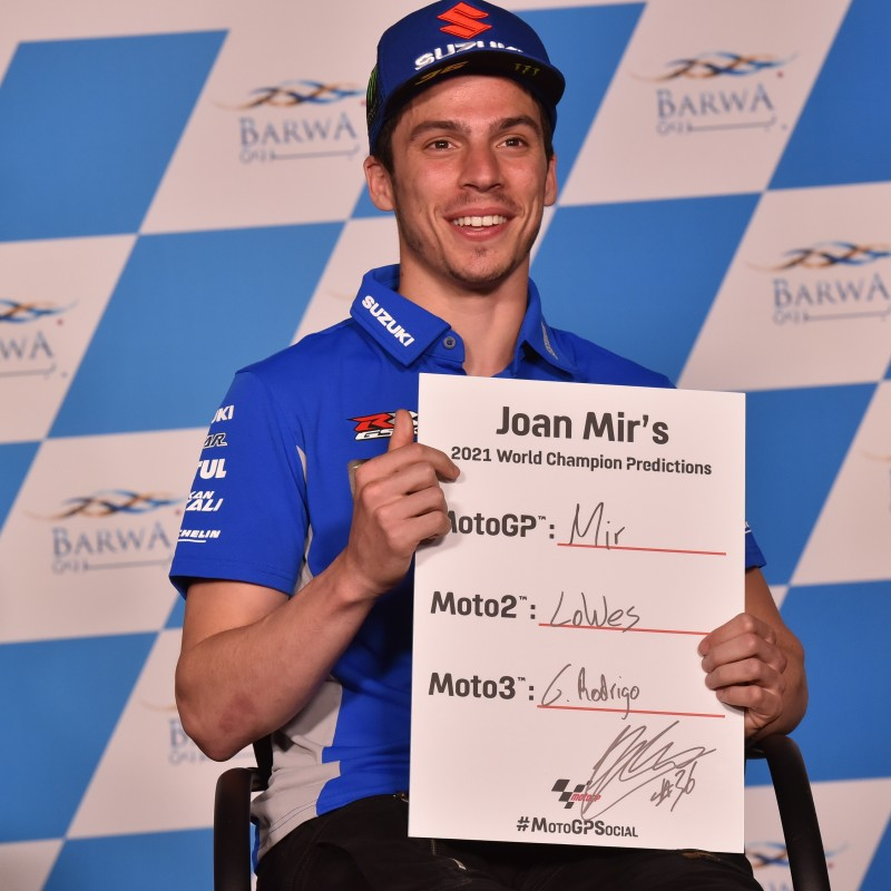 Signed '2021 Championship Winner Predictions' board signed by MotoGP's reigning Champion, Joan Mir