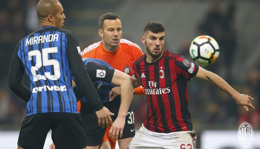 82beb23f041335 Cutrone's Unwashed Match-Worn Milan-Inter Shirt with Special Patch ...