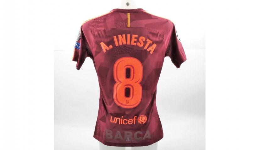 Iniesta s Match-Issued Worn Barcelona Shirt ae8149daa
