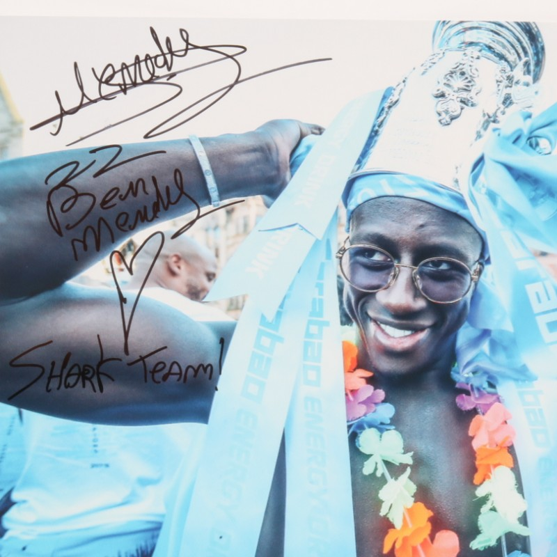 Manchester City Champions Parade Picture Signed by Mendy