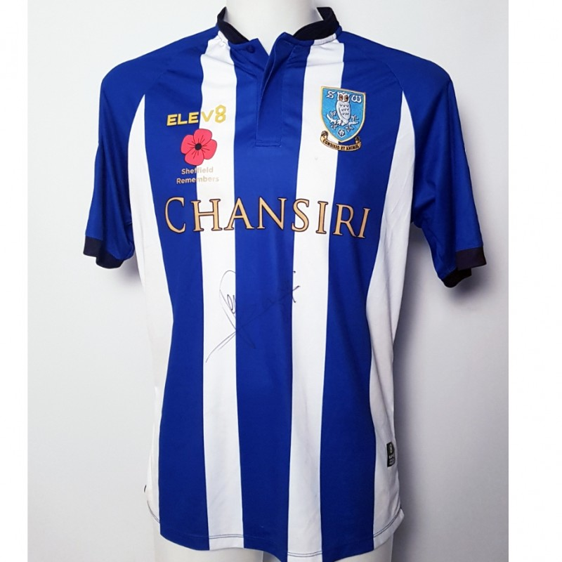 Joey Pelupessy's Sheffield Wednesday Worn and Signed Poppy Home Shirt