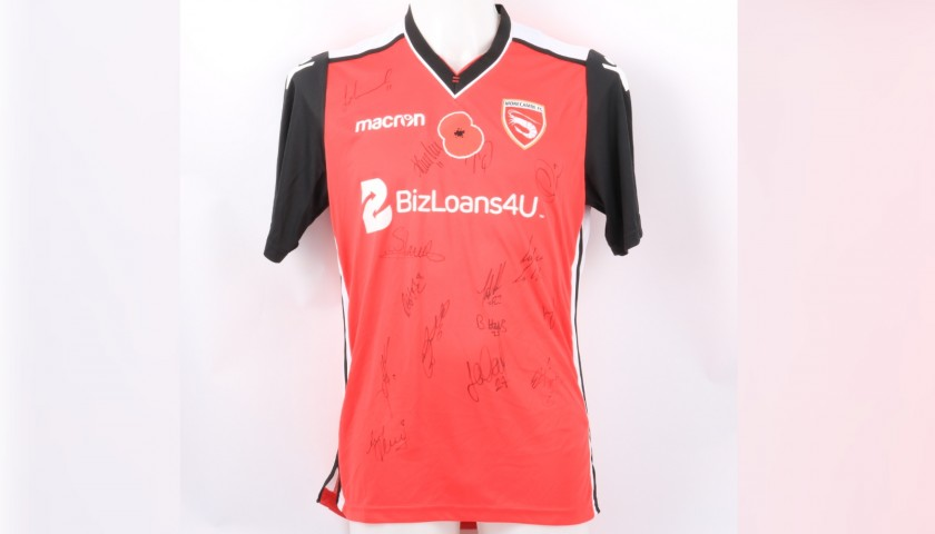 Morecambe Official Poppy Shirt Signed by the Team