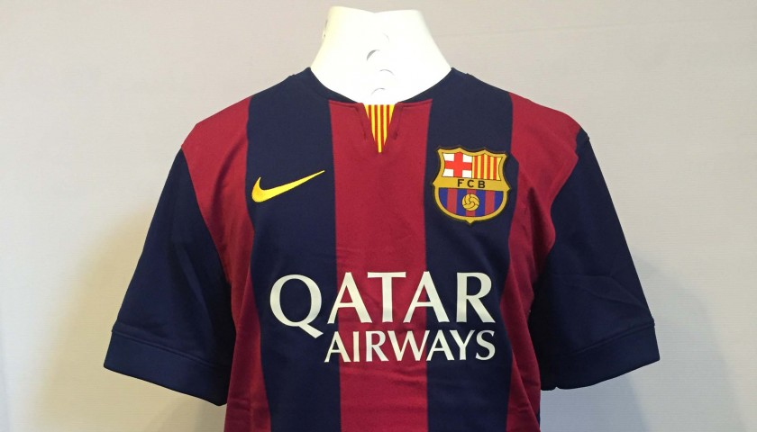 reputable site 9d8c1 35b82 Lionel Messi FC Barcelona Signed Shirt from the historic 2014-2015 treble  season - CharityStars