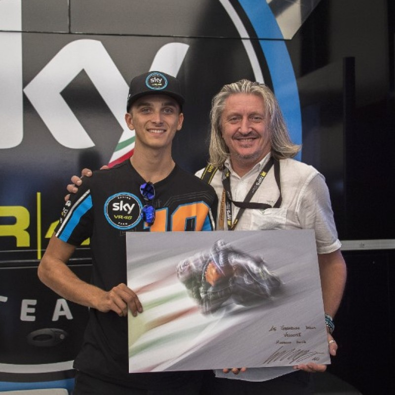 Signed Photo and Knee Sliders Worn by Luca Marini