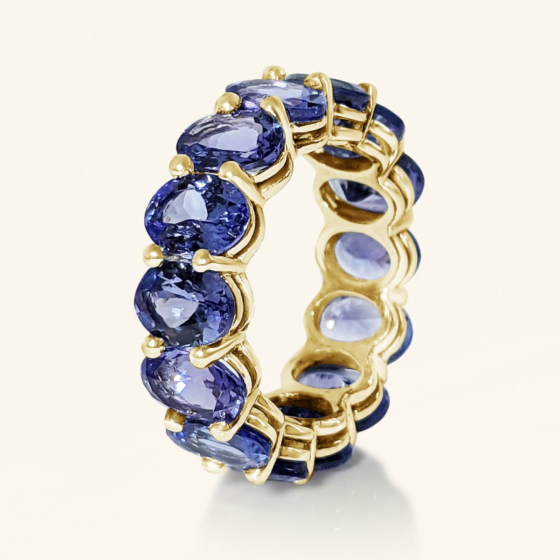 Eternity Band Oval Tanzanite Ring set in Gold 14K