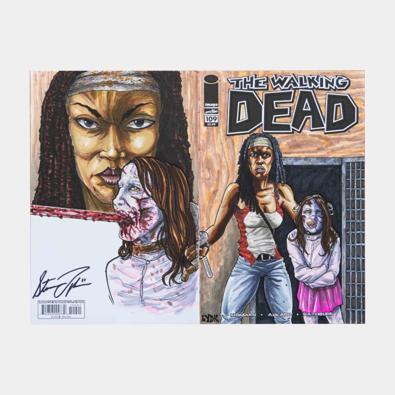 """""""Michonne and the Governors Daughter"""" Walking Dead Wraparound Sketch Cover Original Art Framed by Steve Lydic"""
