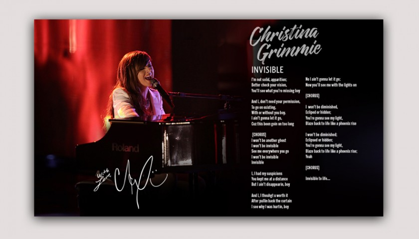 """Digitally Signed Limited Edition """"Invisible"""" Lyric Sheet"""