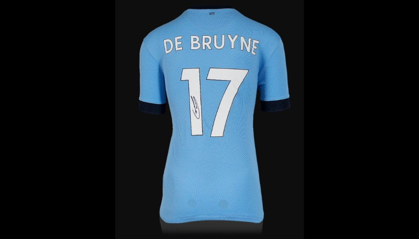 Kevin De Bruyne Signed Manchester City 2014-15 Home Shirt With Fan Style Numbers