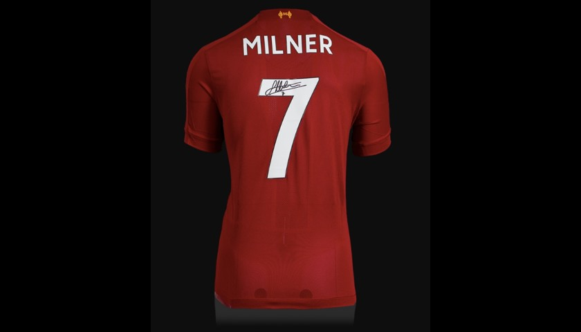 James Milner Back Signed Liverpool 2019-20 Home Shirt With Fan Style Numbers