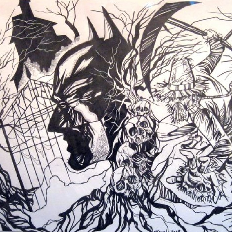 """""""Batman in Arkham"""" Original Board by Henry Simon"""
