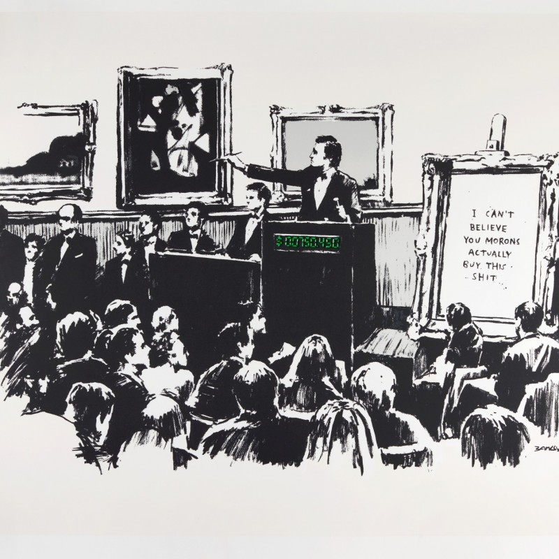 """Stampa originale """"Morons"""" di Banksy"""