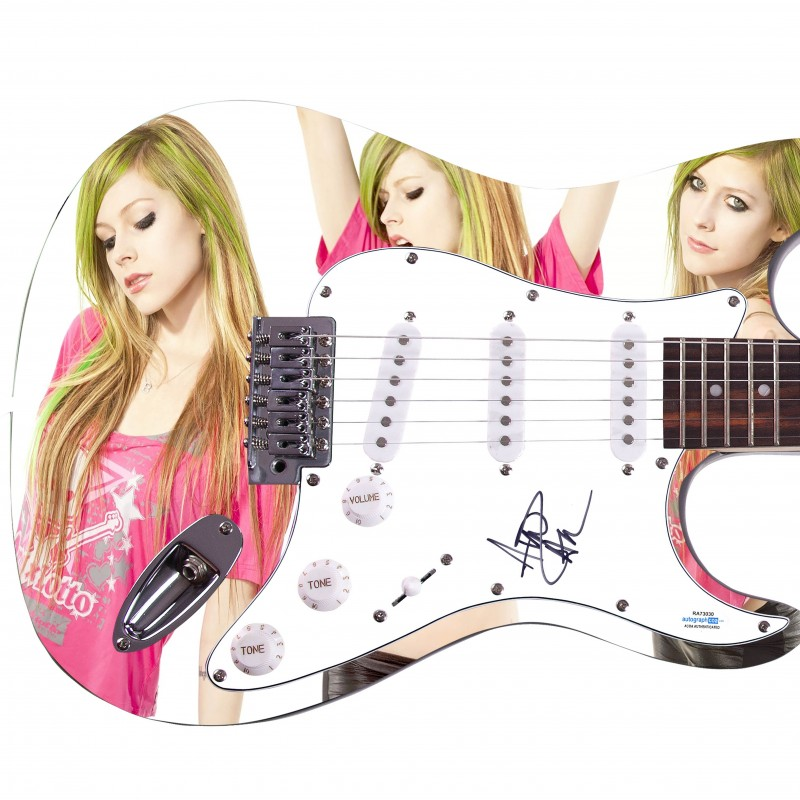 Avril Lavigne Hand Signed Custom Photo Guitar