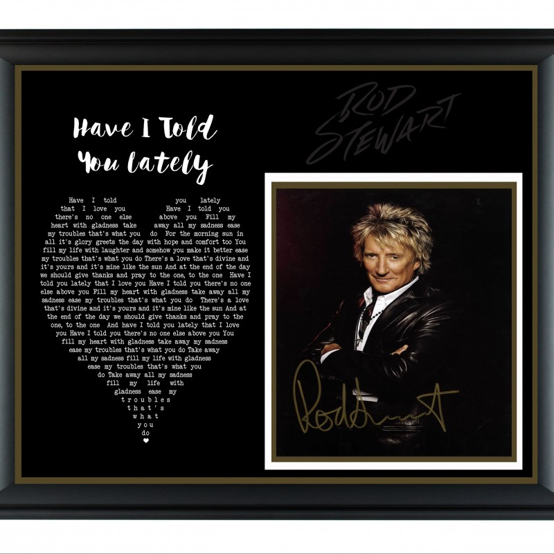 Rod Stewart Hand Signed, Custom Framed Display