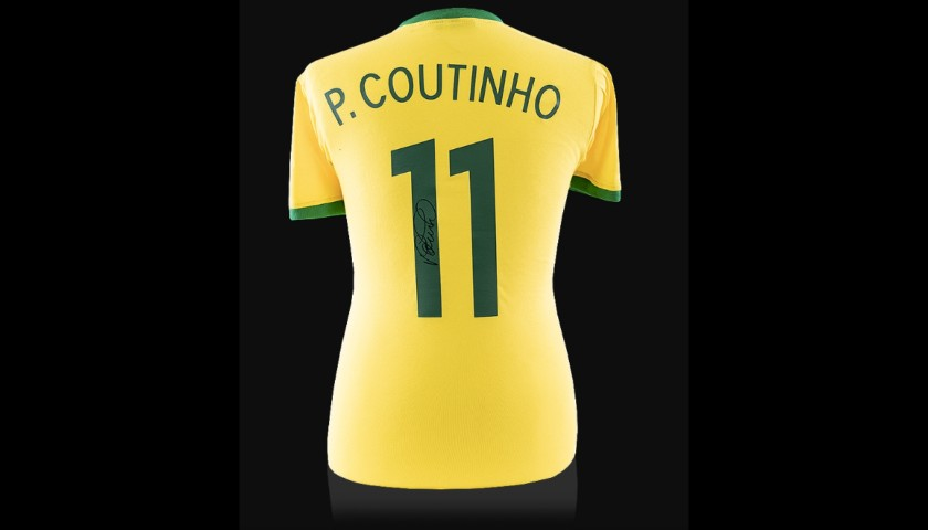 Philippe Coutinho Signed Retro Brazil Shirt With Fan Style Numbers