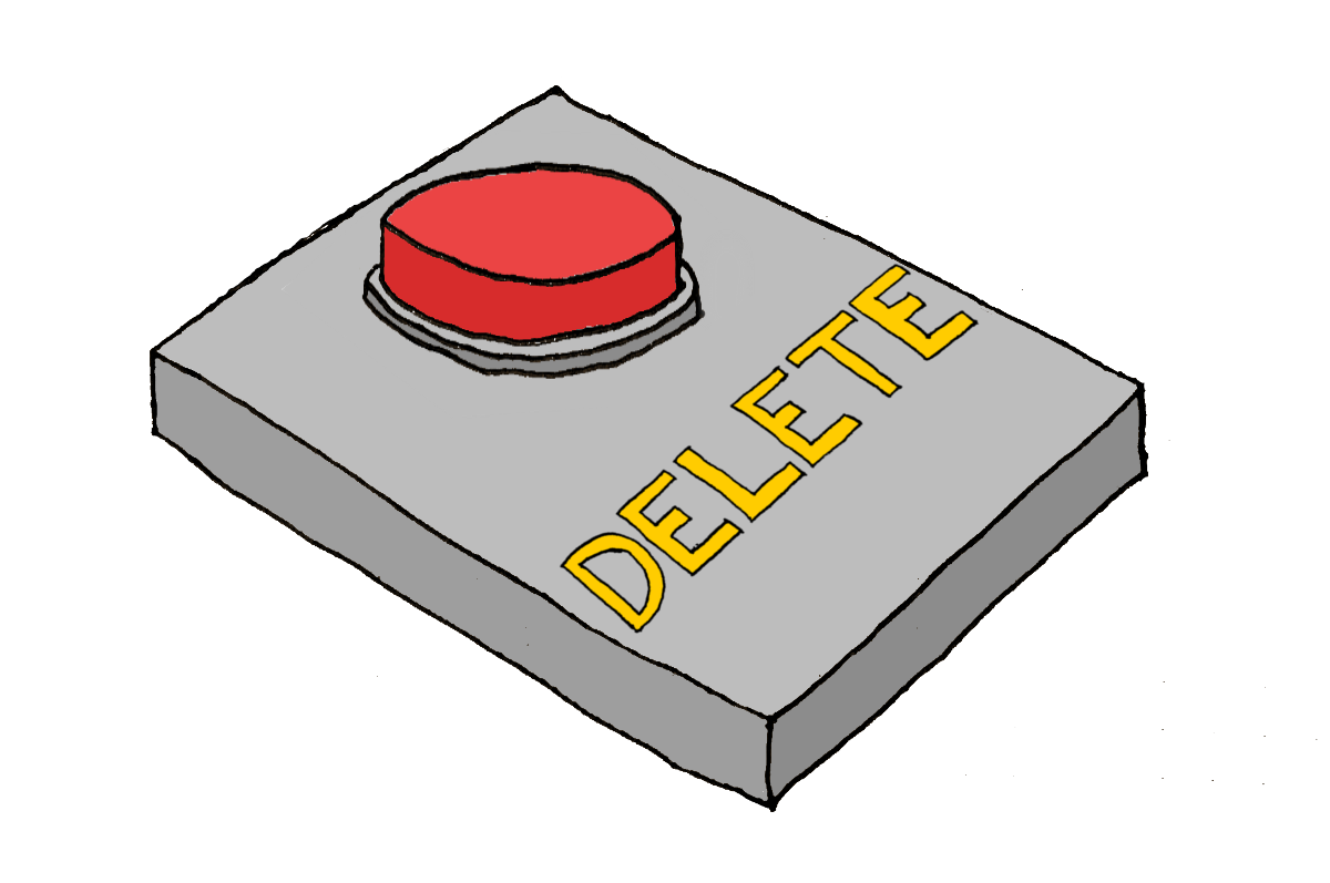 Hand-drawn image of a button with the word 'Delete' underneath it