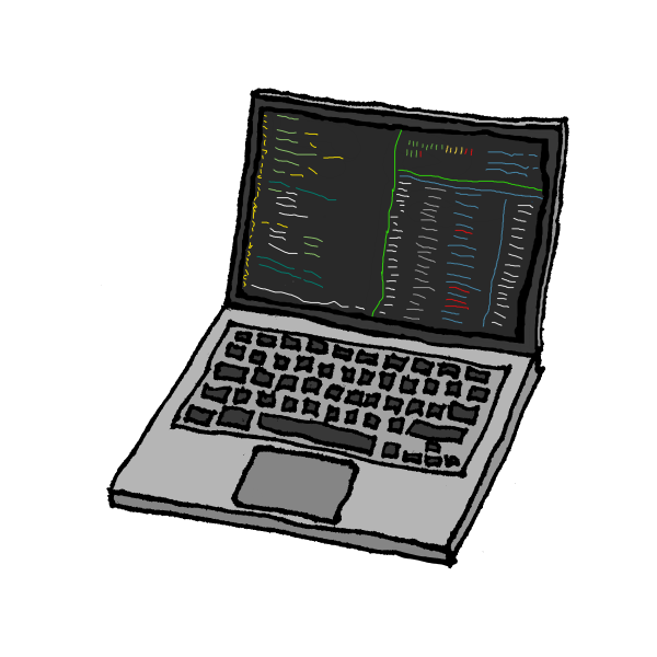 Hand-drawn laptop with code on the screen by Christian Charukiewicz