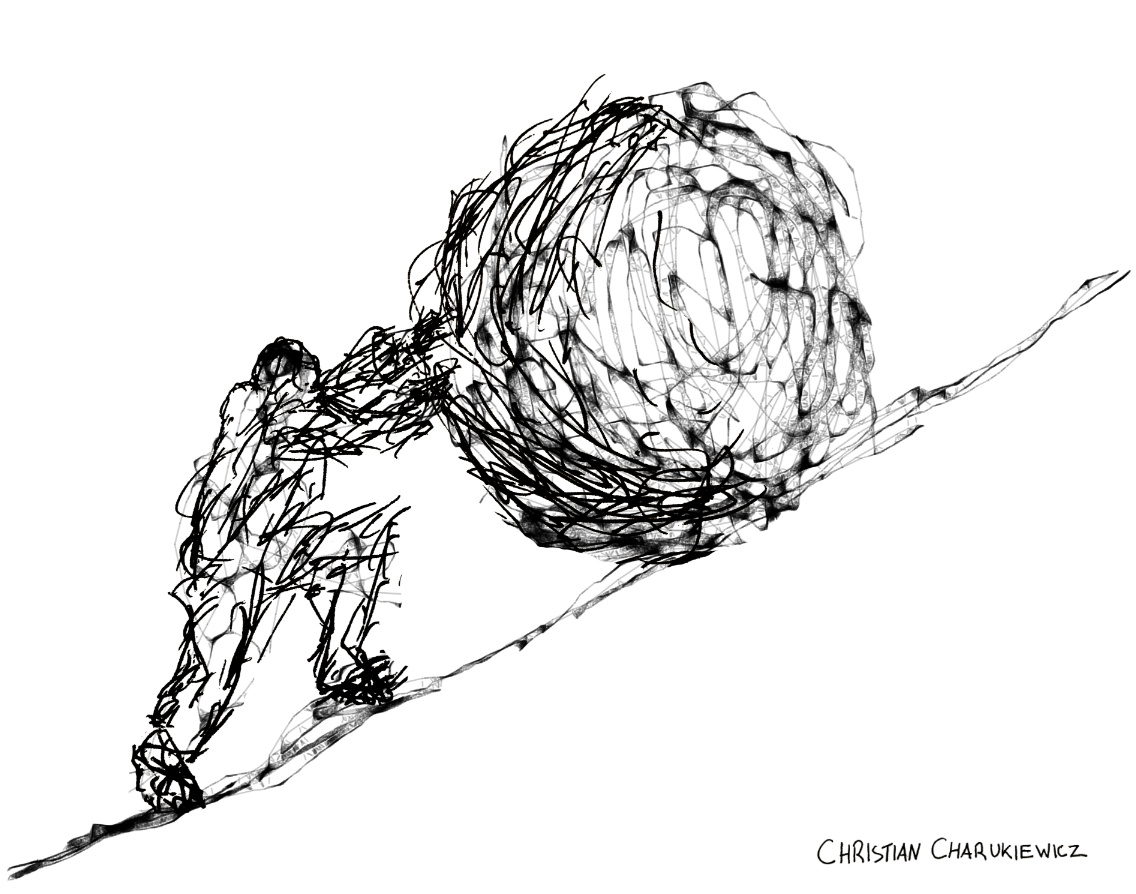 Hand-drawn picture of Sisyphus pushing a stone up a hill by Christian Charukiewicz