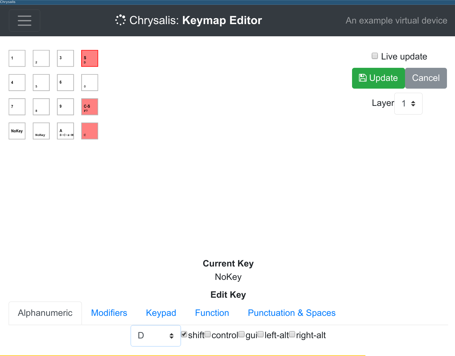 Chrysalis keymap editing