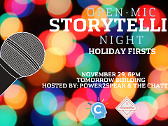 "The Chattery Presents ""Open Mic Storytelling Night: Holiday Firsts"""