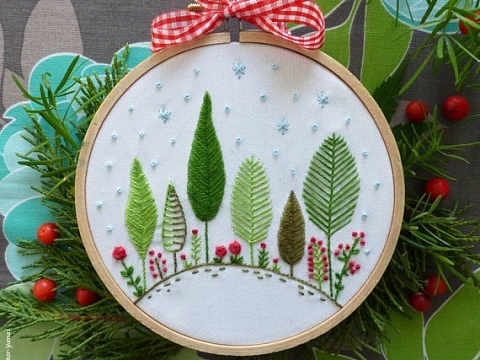 "Image: The Chattery Presents ""Beginner Embroidery: Holiday Hand Towels"""