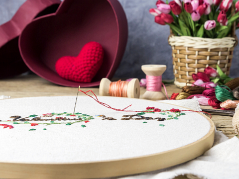 "Image: The Chattery Presents ""Beginner Embroidery: Valentine's Day"""