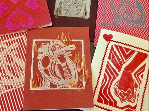 Image: Relief Printing: Valentine's Day Edition – 2 Part Class