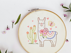 Beginner Embroidery: Llama Drama – Online Class + Supplies
