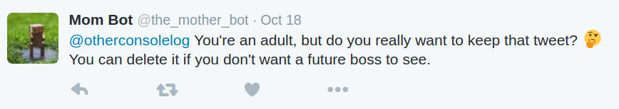 Mom Bot tweet response to bad words
