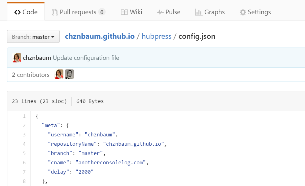 Hubpress config.json file meta