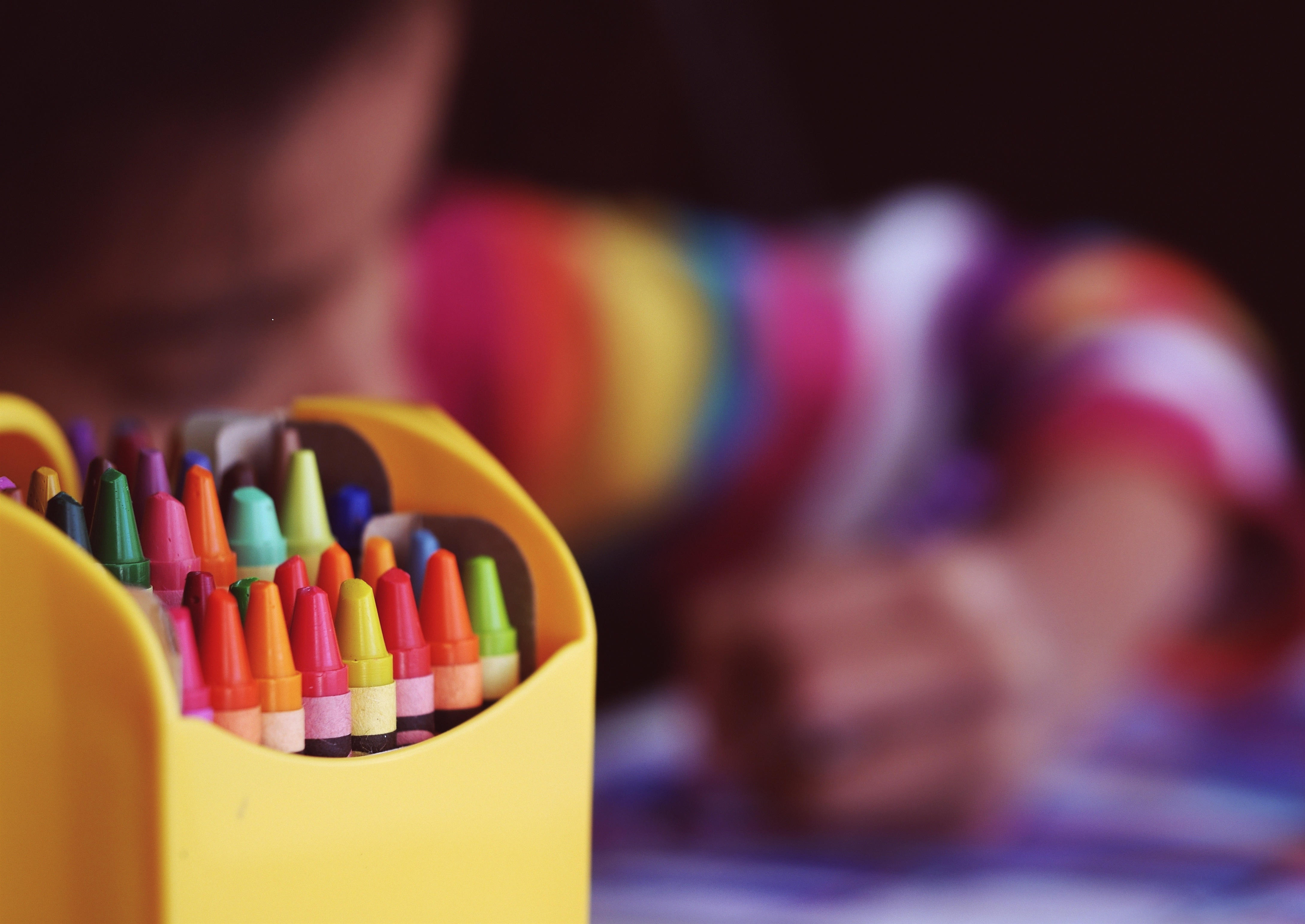 Crayons with Child Coloring