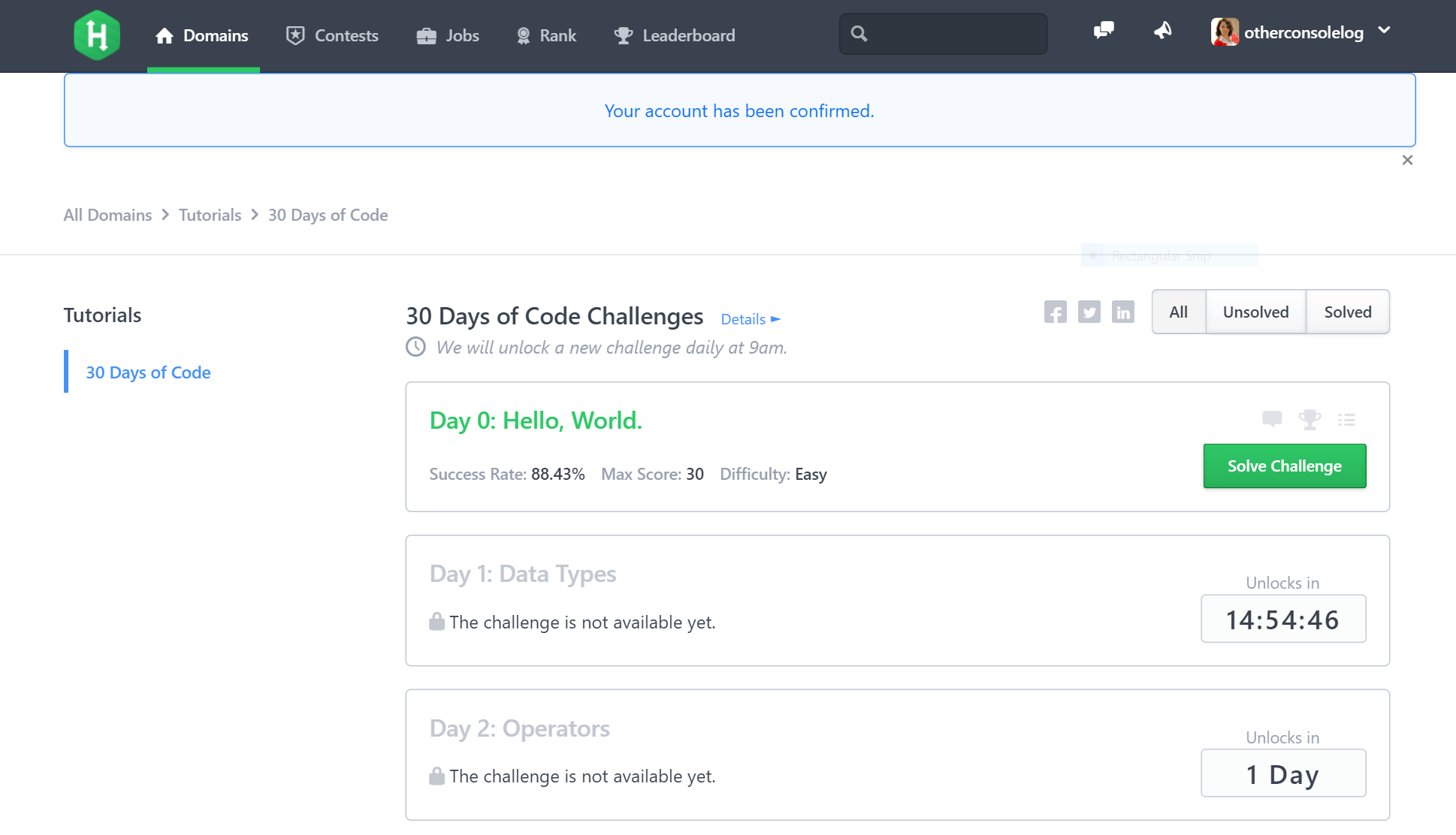 HackerRank 30 Days of Code Challenges, Day 0 Completed