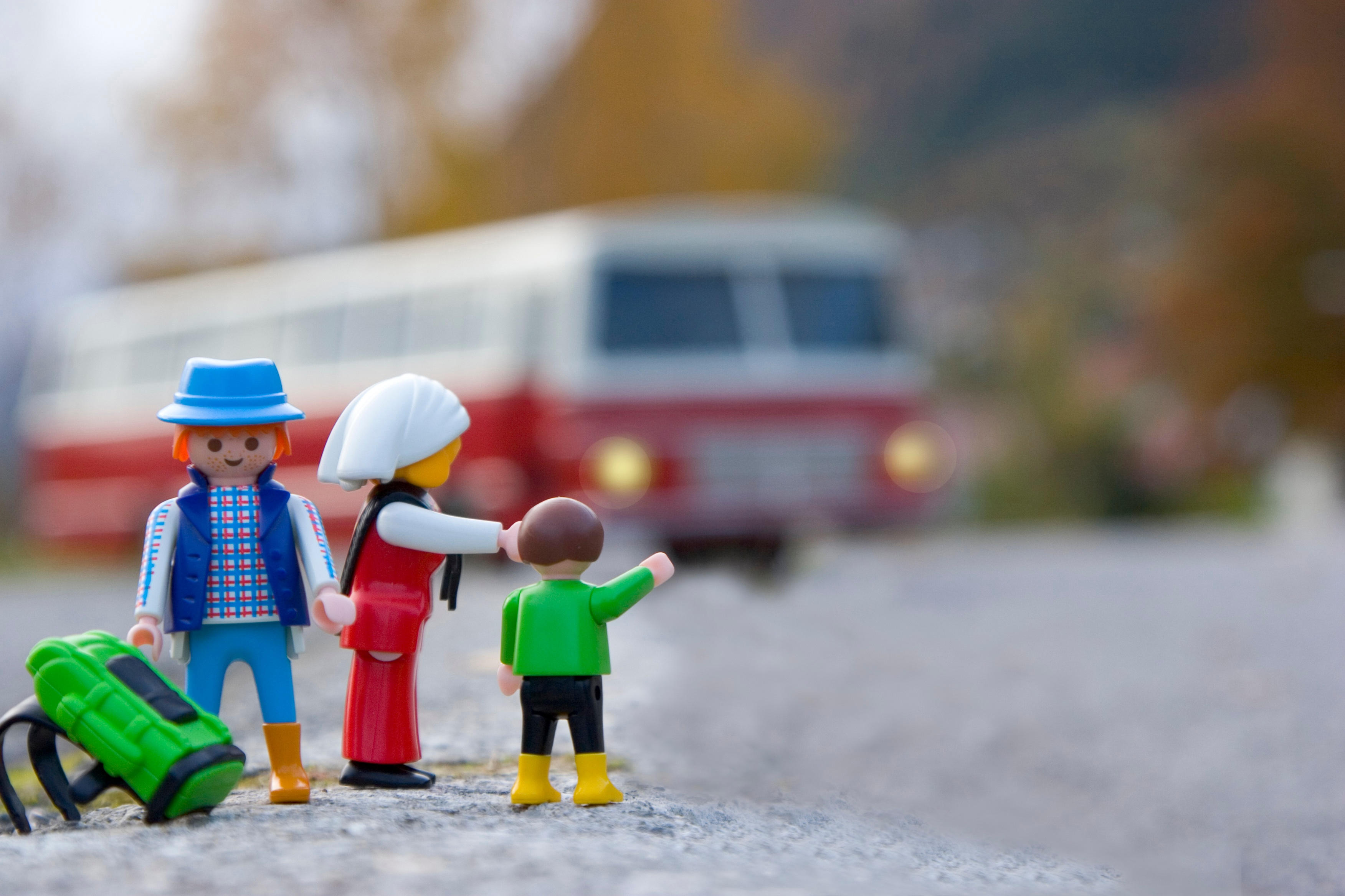 Lego Family Waves at Bus
