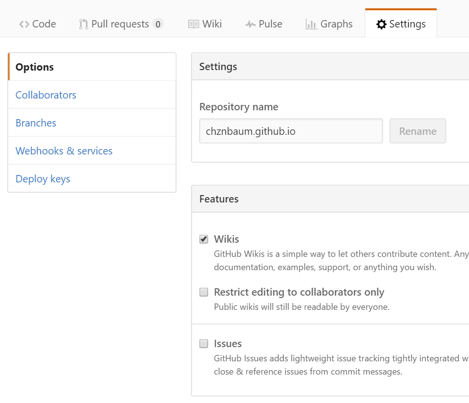 GitHub Pages Settings Page - Options