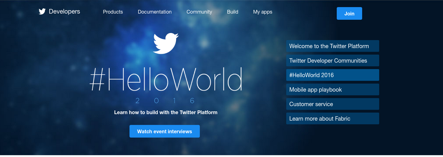 Twitter Developers Navigation and Header