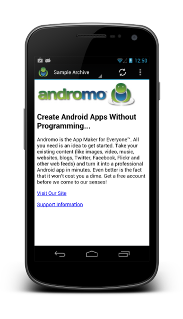 HTML Archive Activity | Andromo Support