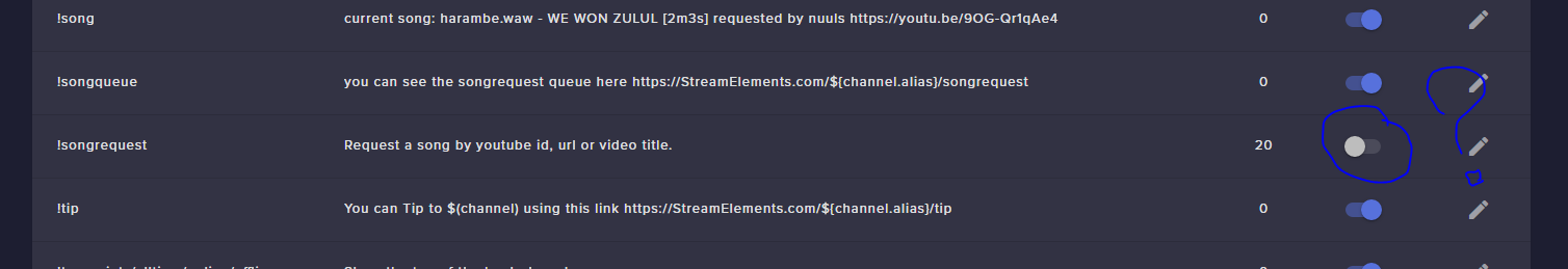 Song request command won't switch to on | StreamElements Community Board