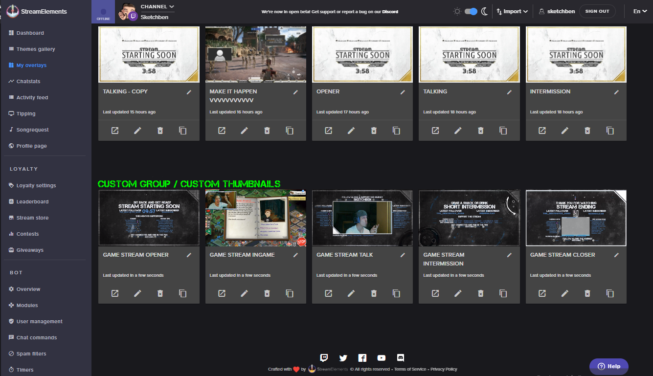 Overlay Manager: Set Custom Thumbnails | StreamElements Community Board