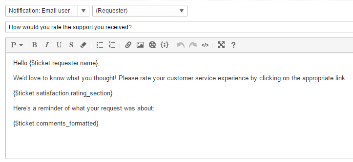 Enabling and customizing customer satisfaction ratings for Customer survey email template