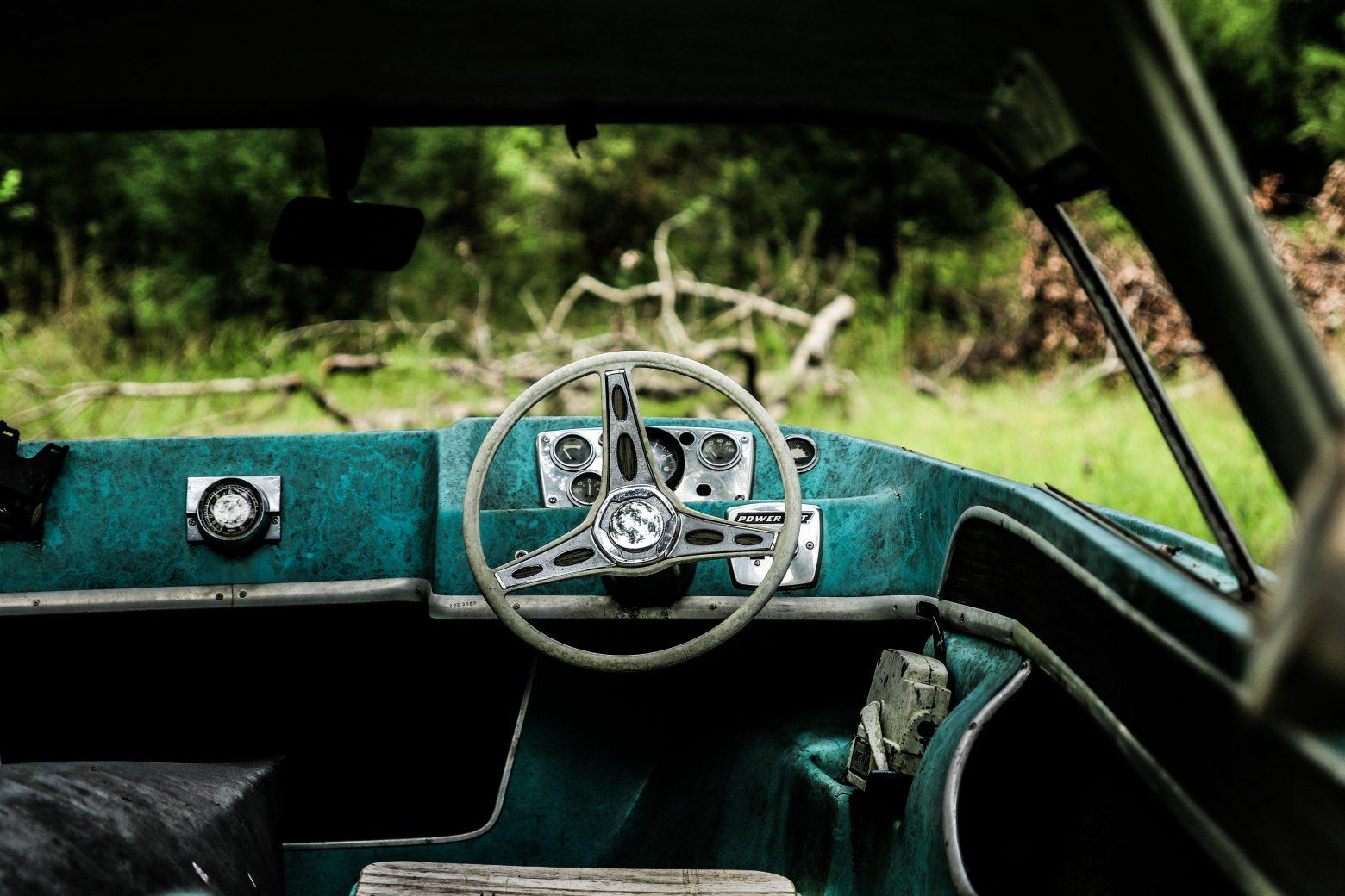 Inside an old car