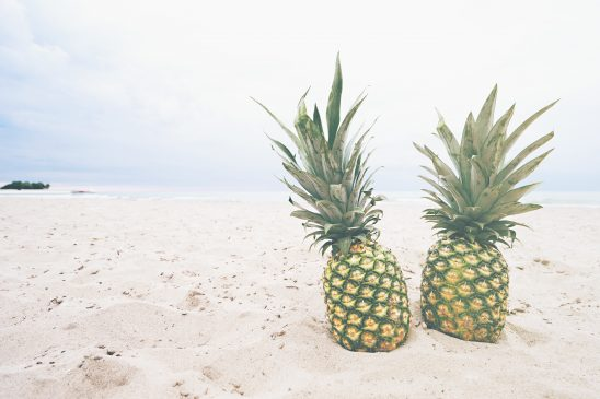 Pineapples on the sand