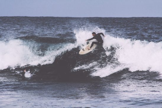 Surfing on big wave