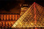 Beautiful Louvre Pyramid At Night Time
