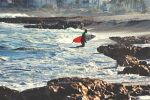 Man With Surfboard Seaside
