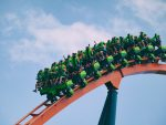 People taking a ride on Rollercoaster.