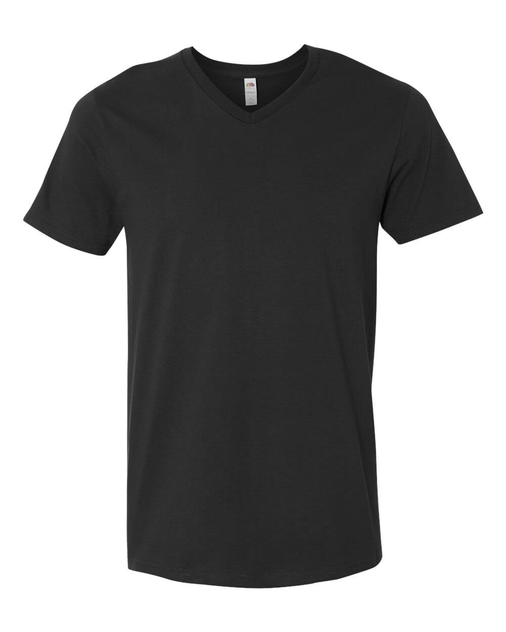 Fruit-of-the-Loom-Mens-V-Neck-Sofspun-Black-Custom-T-Shirts