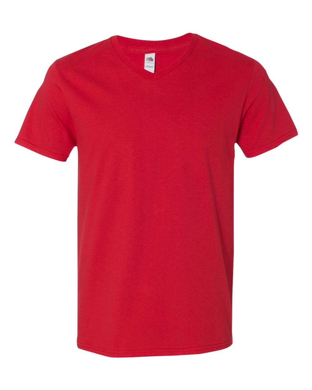 Fruit of the Loom Sofspun V Neck Red Custom T Shirts